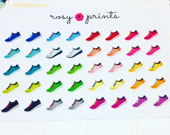 40 Colourful Running Shoes Stickers - Perfect for Erin Condren Life Planners / Journals / Stickers