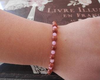 Pink jade bracelet, brown goldstone bracelet, bead bracelet, elastic bracelet, summer bracelet