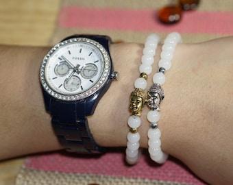 White Beads Buddha Bracelet