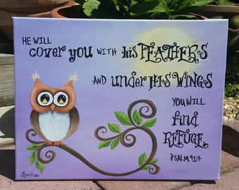 Original Owl Painting He Will Cover You With His Feathers Psalm 91:4 Nursery Art or Girl's Room Scripture Painted Canvas/Free Shipping USA