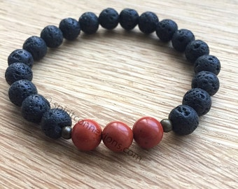 Lava Rock Bracelet with Red Jasper Gemstone Beads for Psychic Protection Courage and Power
