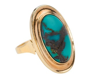 Turquoise Cabochon Ring Vintage Yellow Gold