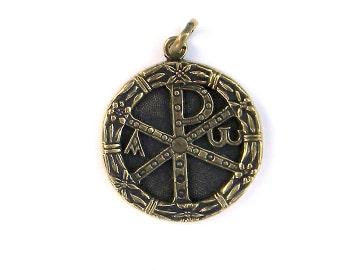 Bronze Pendant Chi Rho (1) Chi rho cross Alpha and omega Christian Jewelry Chi rho pendant Chi rho jewelry Alpha omega cross Christmas gift