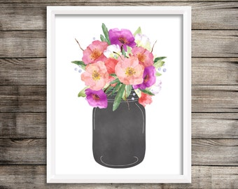 Watercolor Floral Garden Bouquet in a Chalkboard Mason Jar Printable 8x10 Wall Art Home or Office Decor Pink, Purple, Red, and White Flowers