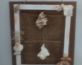 8 X 10 Shell & burlap wall decor