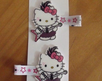 Handmade boutique set of 2 Hello Kitty Rock & Roll Electric Guitar Hair Clips