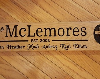 "Handmade Family Name Cherry Wood Routed Sign Established Year Last First Personalized Custom Housewarming 5.5""x20"" & Christian Cross Graphic"