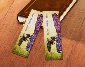 Card Book Mark - Bee and Lavender Design - 148mm x 52mm