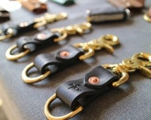 Belt Loop Key Carry | Leather Keychain | Leather Key Fob | Key Chain | Men's Keychain | Brass and Leather Keychain | Belt Loop Keychain