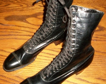 Black Victorian Laceup Boots - Old Store Stock