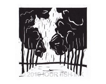 Forest for the Trees Linocut Plants Print