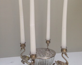 1930's Silverplate Swan Candleholders & Floral Frog