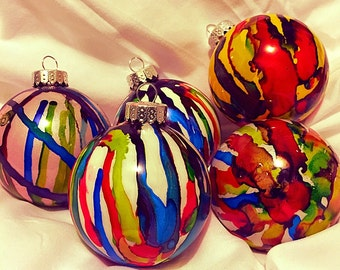 Hand painted christmas decorations (set of 5)