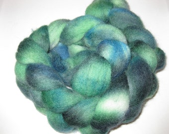Handdyed Fibre - Green and Blue