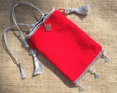 Medieval AngloSaxon Style Elegant Hand Bag Purse Pouch Handmade Wool  Silk Red Novelty Gift idea