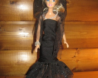 Glamorous Black Evening Gown for Barbie