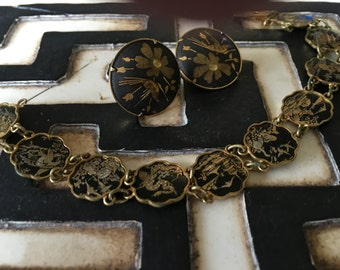 Vintage Japanese Damascene Bracelet and Earrings, inlaid metal
