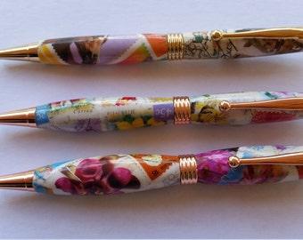 Postage Stamp decoupage ballpoint pens.