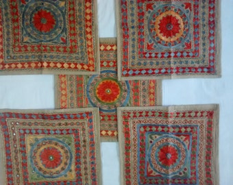 Indian ethnic hand embroidered rajasthani set of 5 piece cushion covers