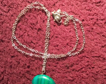 Malachite Bear with Sterling Silver Chain