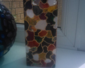 Hand painted Multicoloured Square Glass Vase