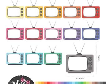 28 Colors Retro TV Clipart - Instant Download