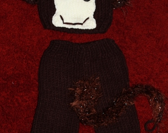 Infant Crochet Knit Hat Suit Monkey With Tail. 0-8 months