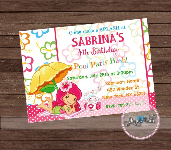 Strawberry Girl Pool Party Invitation Strawberry Girl Birthday Invitation Strawberry Girl