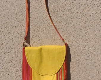 Yellow and Red Striped Cross Body Bag - Yellow Cross Body Bag - Cross Body Bag - Cross Body Purse - Women's Bag - Women's Purse - Yellow Bag