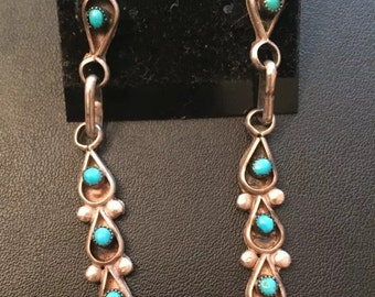 Turquoise Dangle Earrings, Sterling Silver