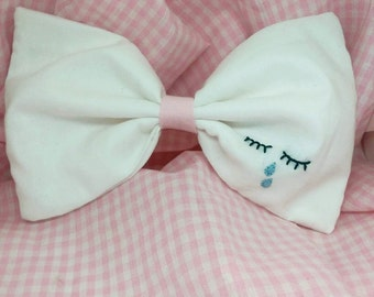 Sad girl cry baby embroidered bow