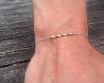 Silver fine chain, rounded gold plate bracelet