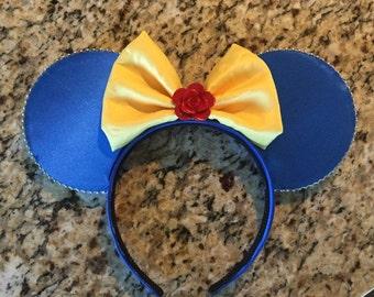 Minnie Ears, Beast Inspired Minnie Ears, beauty and the beast Mickey ears