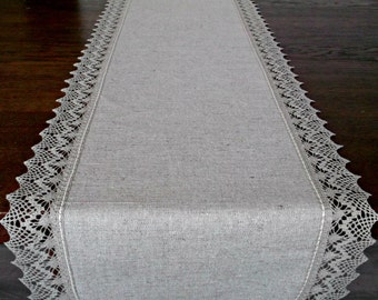 120 Extra Long Table Runner, Linen Lace Table Scarf, Light Grey Dining Table  Centerpiece