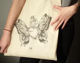 TOTE BAG - Butterfly heart-