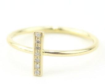 Bar Style Diamond Ring 14K Solid Gold Diamond Set Ring Diamond Engagement Ring