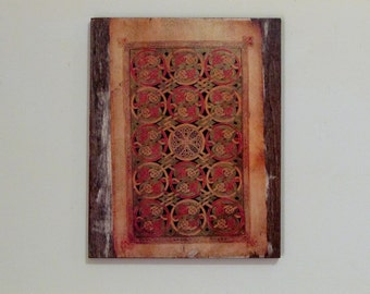 Book of Durrow - Carpet Page, Wooden Wall Hanging