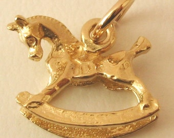 Genuine SOLID 9ct YELLOW GOLD 3D Rocking Horse charm pendant