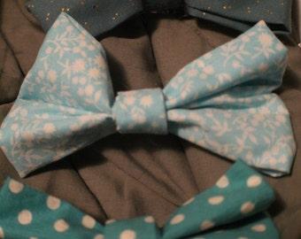 Blue Hair Bow Barrettes