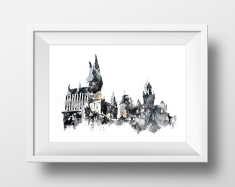 Watercolor Wall Art Hogwarts Print,Harry Potter Print,Printable Poster,Wall Art,Potter Decoration,Hogwarts School of Witchcraft and Wizardry