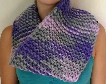 Winter neck warmer tube scarf, knitted, multicolored, handmade