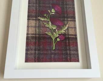 Scottish tartan frame with embroidered thistle