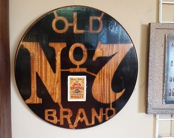 Custom Made Jack Daniels Old No. 7 Round Wood Sign