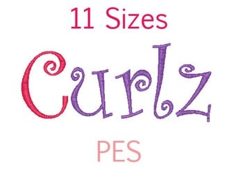 Curlz Font 11 Sizes Embroidery Font Machine Embroidery PES Format