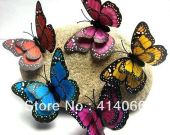 Hot& Wholesale 100pcs 3d Mixed Artificial Butterfly For Wedding Decorations Party Supplies 7cm