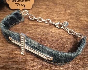 Denim Cuff Bracelet with Silver Rhinestone Cross