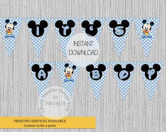 Baby Mickey It's a Boy Baby Shower Banner, INSTANT DOWNLOAD,  Baby Mickey Party Decorations, DIY Party Printables, Baby Shower Party Decor