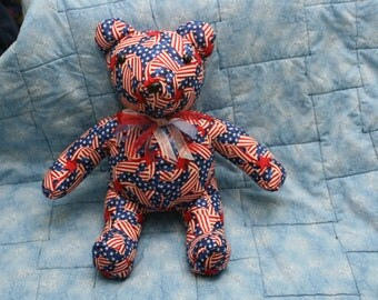 Red, White, And Blue, Wavy Flag Stuffed Teddy Bear