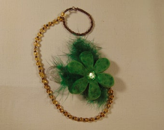 Green Feathered Flower Beaded Pacifier/Dummy Clip