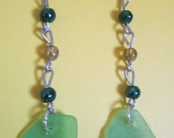 Silver Chain with Green & Citron Beads with Lt. Green Sea Glass Earrings